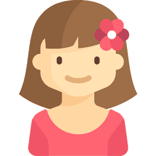 Girl in pink shirt with pink flower in her hair