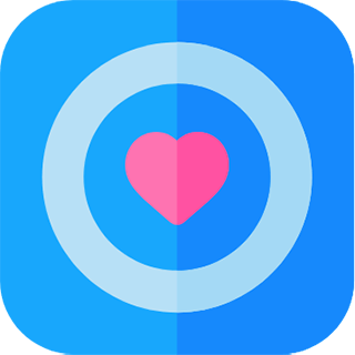 Concentric blue circles with a heart at the center